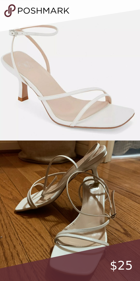 White Strappy Low Heel Sandals In 2020 Low Heel Sandals Kitten Heel Sandals Sandals Heels