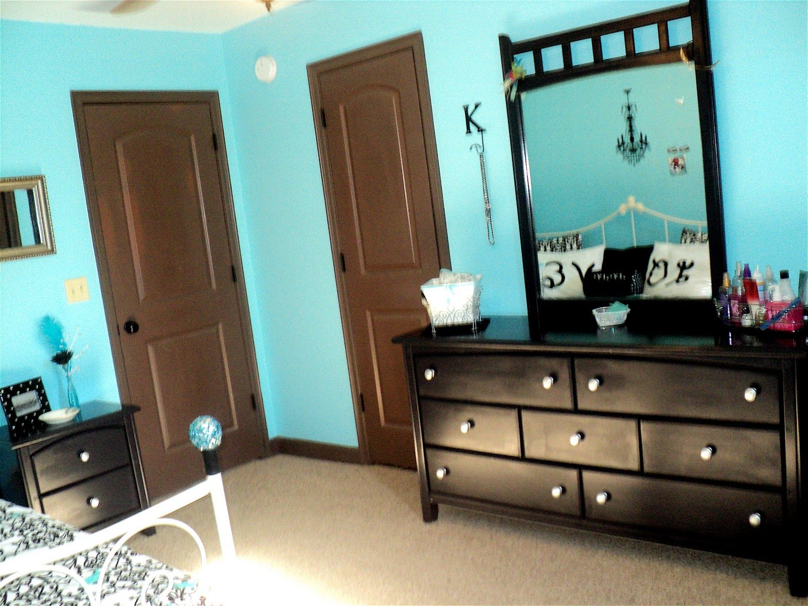 black white and tiffany blue bedroom | We painted her brown ...