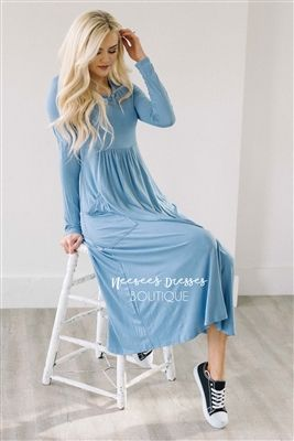 21bfb62b4c0e5 Dusty Blue Pockets Casual Modest Dress, Church Dresses, dresses for church,  modest bridesmaids dresses, best modest boutique, modest clothes, ...