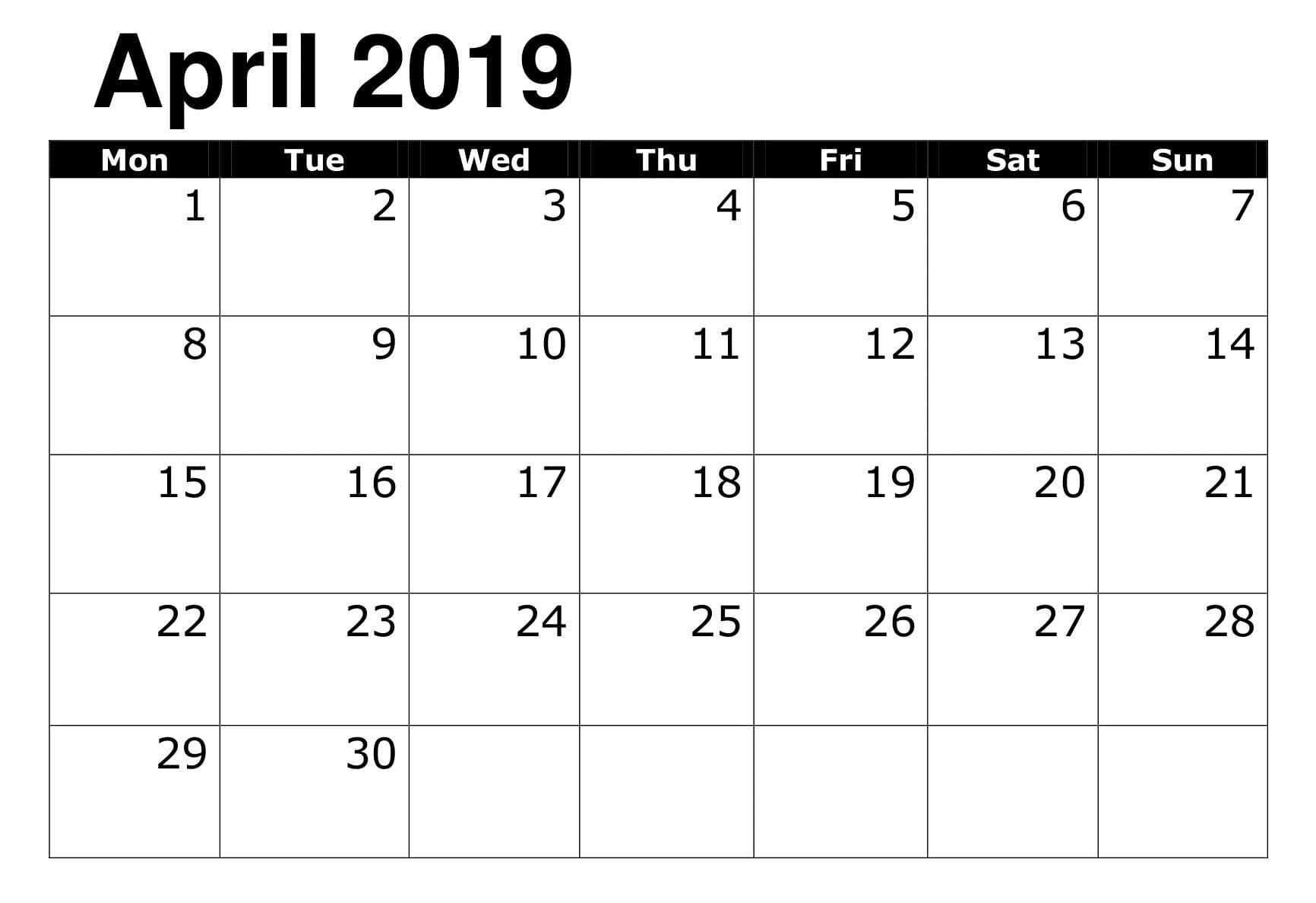 Printable 2019 Calendar Editable April 2019 Calendar Calendar