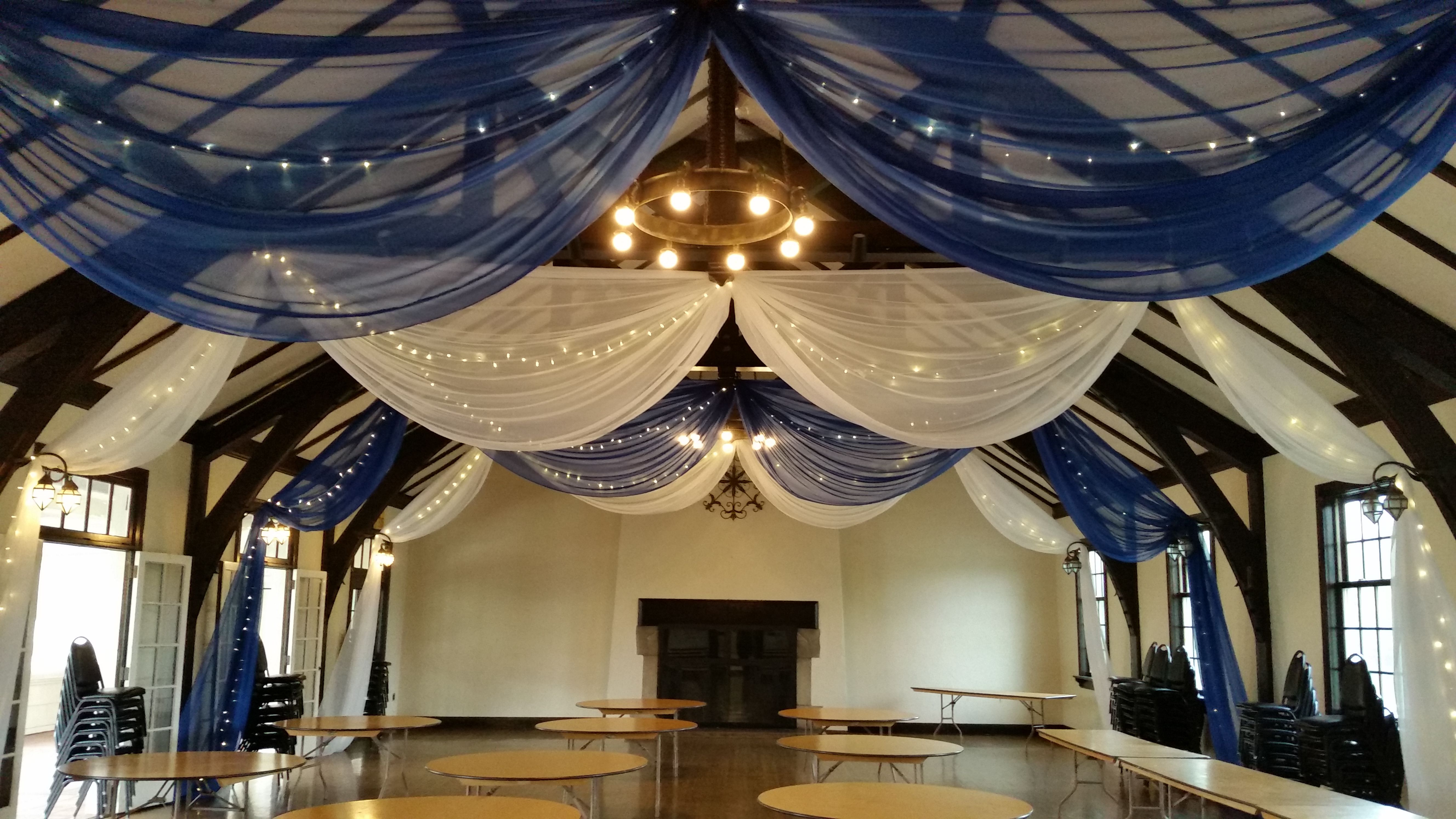 White And Royal Blue Ceiling Drape At Columbia Manor By