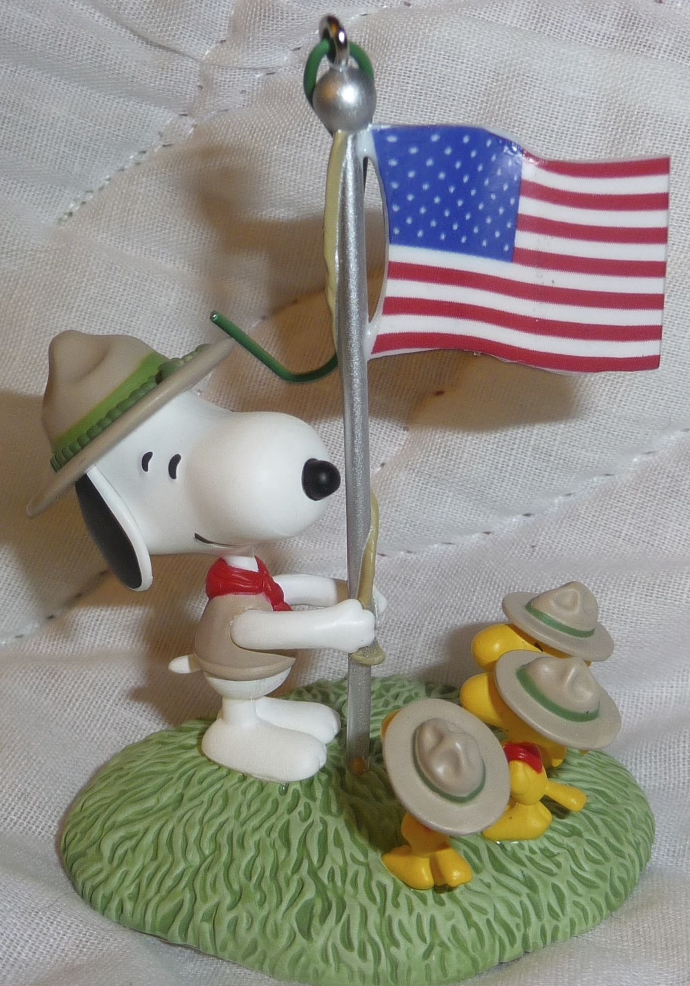 0497772b9b9523 Snoopy Beagle Scout and Woodstock Raising American Flag Ornament ...
