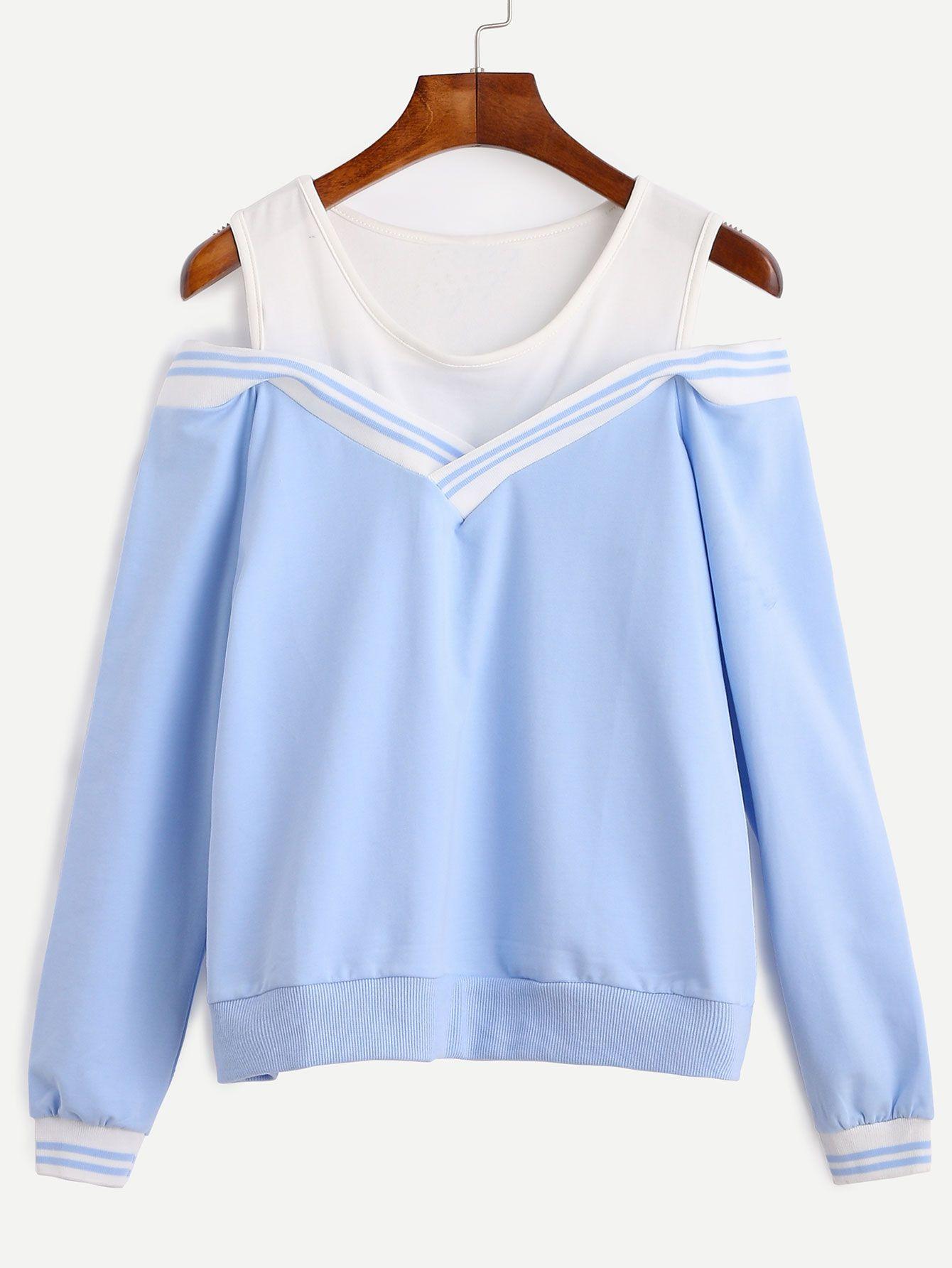 Open Shoulder Top, Cold Shoulder Tops, Blue Tops, Contrast, Romwe,