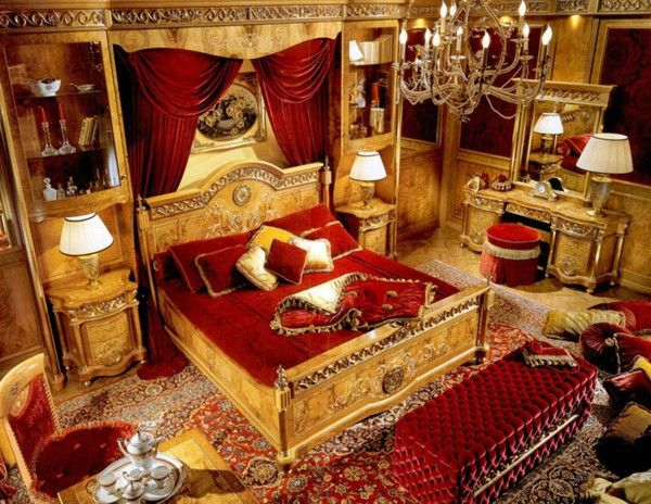 Bedroom Decorated In Red And Gold In 2019 Home Room
