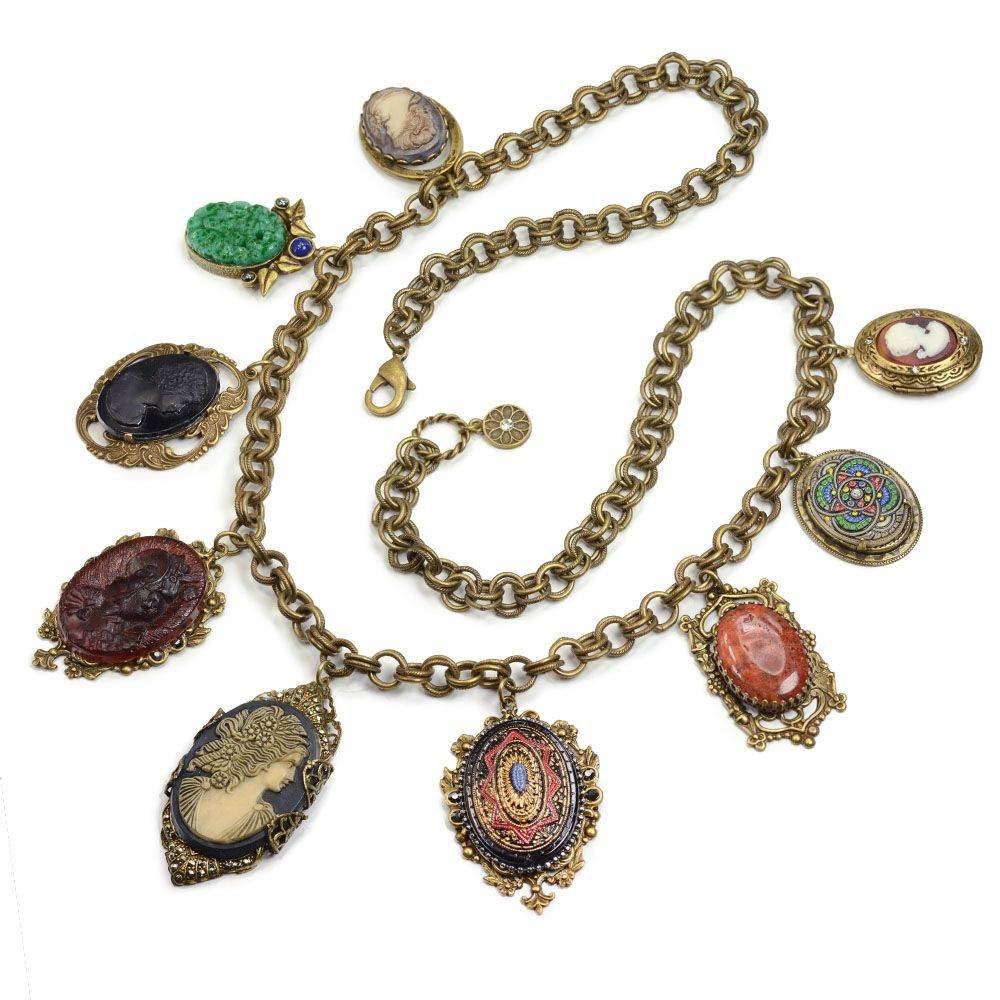 Antique Elements and Cameo Charm Necklace