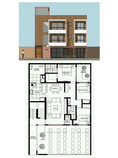 Edificio de 3 pisos 3 apartamentos 3 cuartos 2 con terraza for Distribucion de departamentos modernos