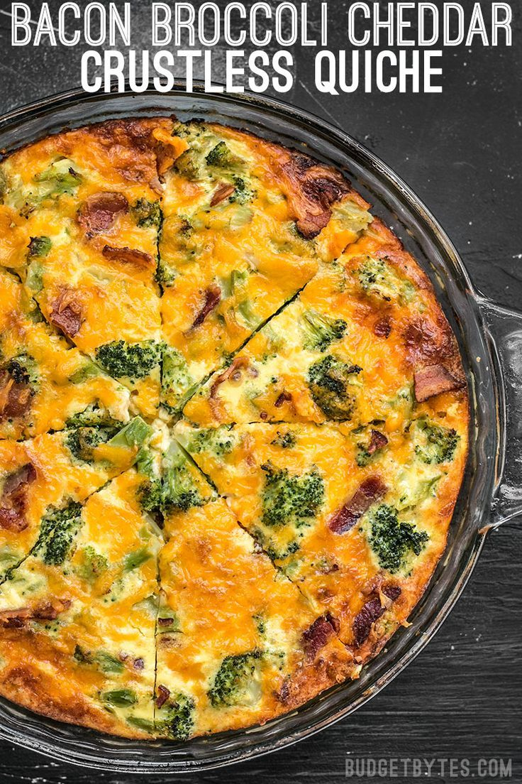 Keep All The Ingredients For This Bacon Broccoli Cheddar Crustless Quiche On Hand For An Easy Crustless Quiche Quiche Recipes Crustless Broccoli Quiche Recipes
