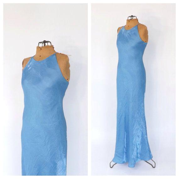 Vintage 1990s Ice Blue Goddess Maxi Dress Minimalist Prom Dress ...