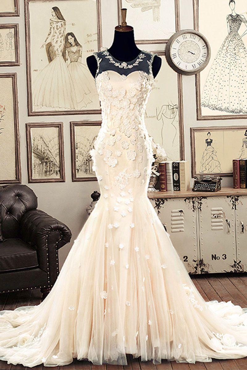 fd2fe0bf34a42 White round neck tulle mermaid long wedding dress
