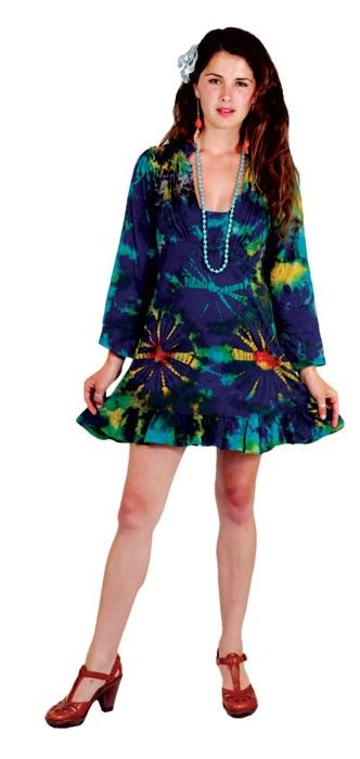 Cotton Long Sleeve Tie Dye Dress with Ruffle