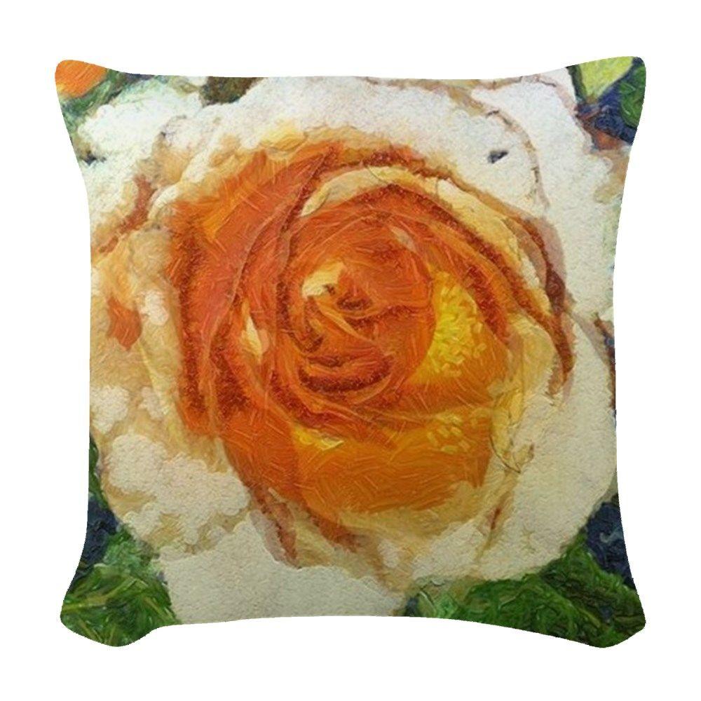 Van Gogh Rose Woven Throw Pillow