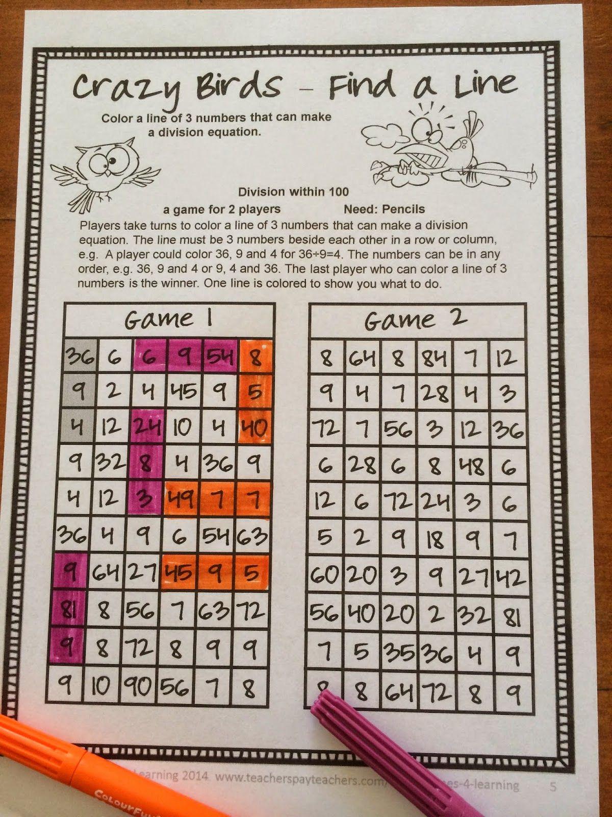 FREEBIES - Fun Games 4 Learning: Division NO PREP Math Games ...