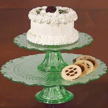 Green Glass Cake Plate Stands