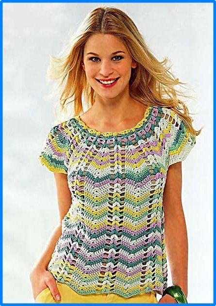 DE MIS MANOS TEJIDOS Y MAS...: En punto Zig zag a crochet | Blusones ...