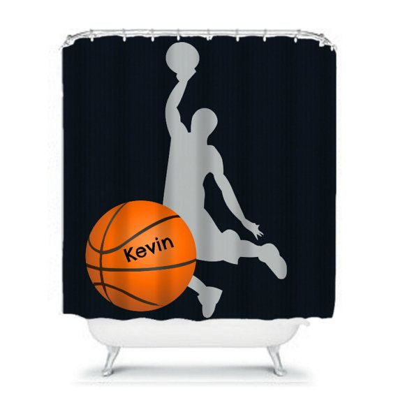 Shower Curtain Basketball Personalised Custom Monogram Your Etsy Curtains Fabric Shower Curtains Personalized Custom