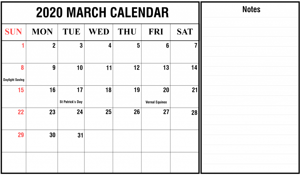 March 2020 Calendar With Holidays Calendar Printables Printable Calendar Template March Calendar Printable