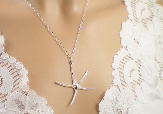 Starfish Sterling Silver Necklace by CharmsByCynda on Etsy, $30.00