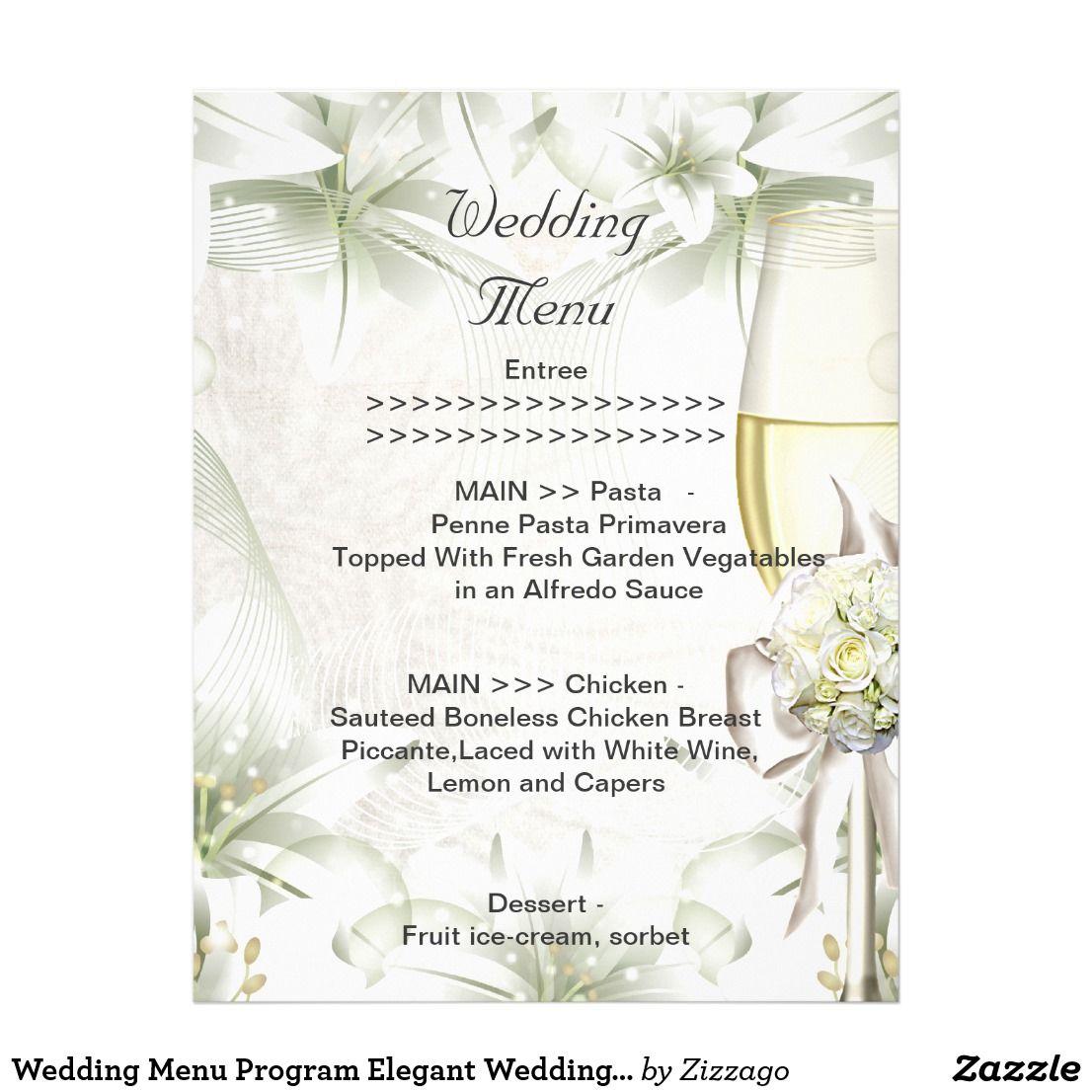 wedding menu program elegant wedding beige green