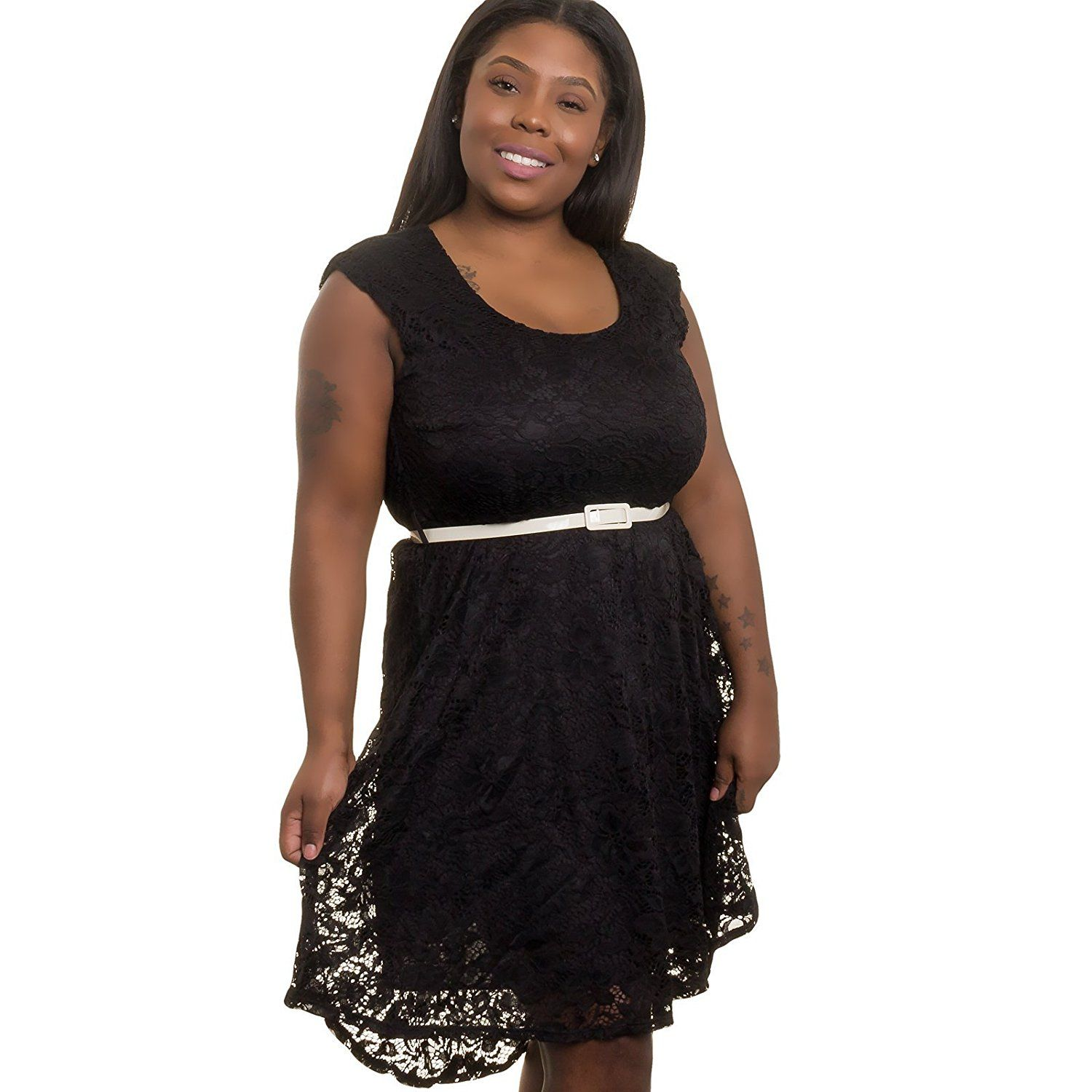 Silver Lilly Womens Junior Plus Size Crochet Lace Dress To View