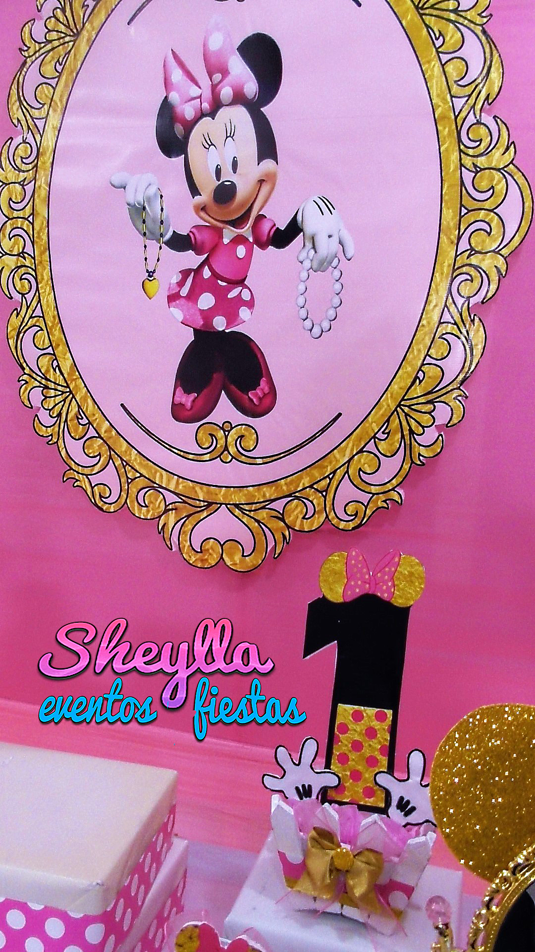 Minnie Golden Primer Añito Decoracion De Minnie Gold
