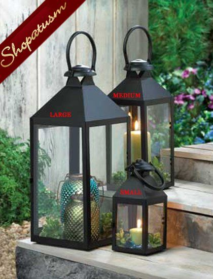 Revere Large Black Centerpiece Indoor Outdoor Garden Candle Lantern