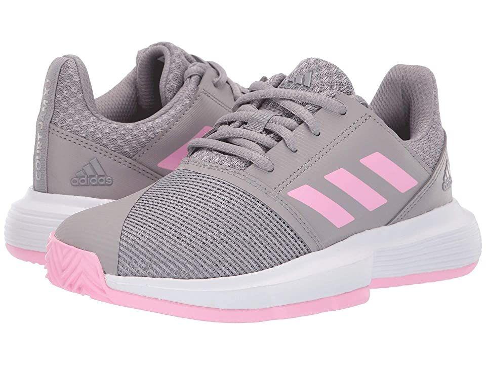 Adidas Kids Court Jam Xj Tennis Little Kid Big Kid Light Granite True Pink Footwear White Girls In 2020 White Shoes For Girls Trendy Tennis Shoes Girls Shoes Kids