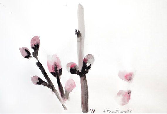 Encre De Chine Et Aquarelle Originale Fleurs Par Manonbianconiart