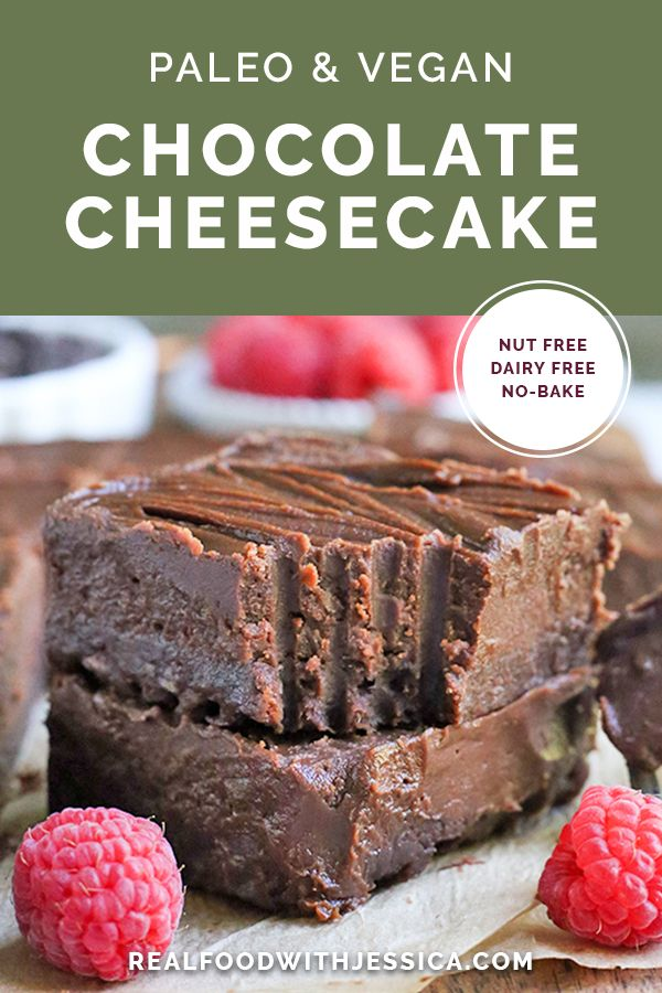 Chocolate Cheesecake This Paleo Nut Free Chocolate Cheesecake is dairy free, but still creamy and delicious! A no-bake treat that doubles up on the chocolate and sure to satisfy that sweet craving. It's gluten free, vegan, and naturally sweetened. |  via @realfoodwithjessica