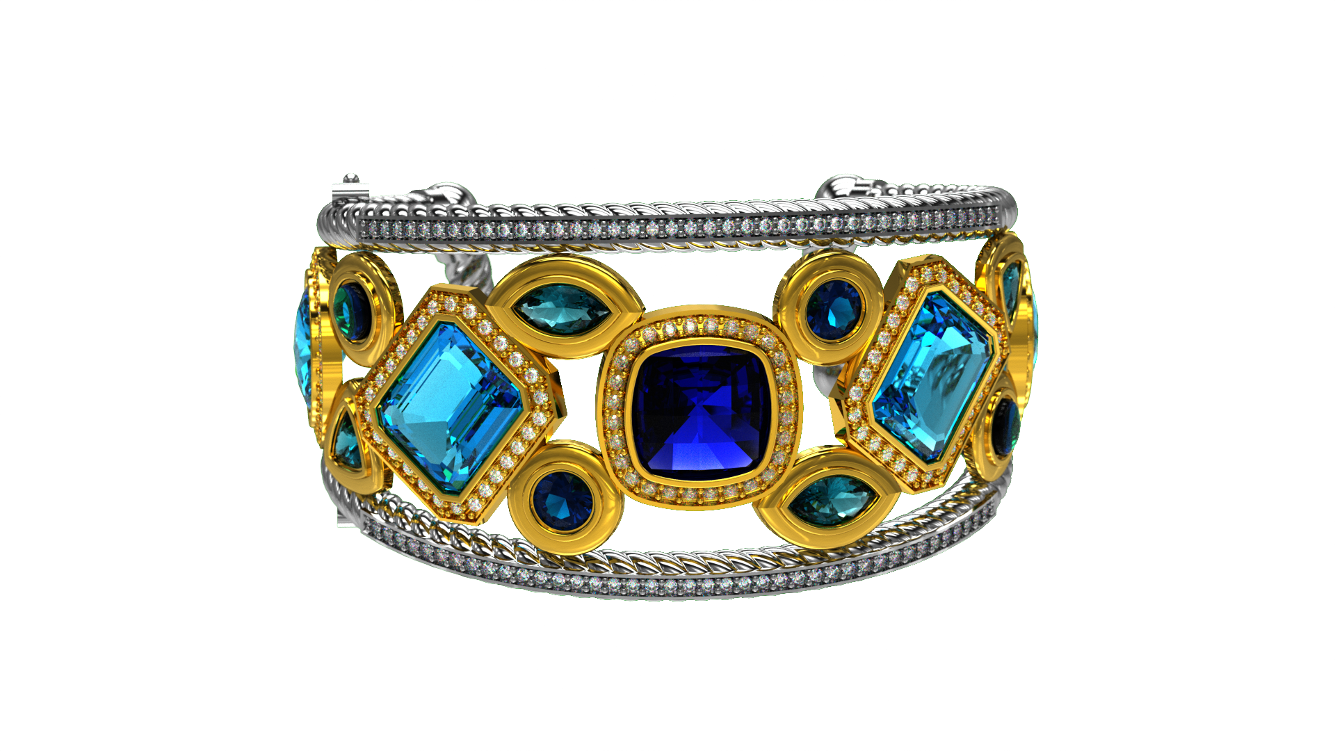 Custom design bracelet k white and yellow gold with blue sapphires