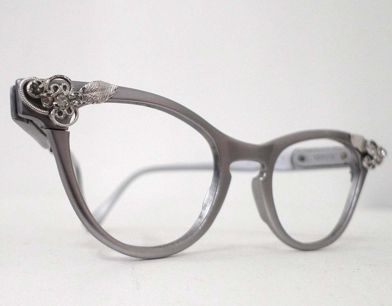 Eyeglasses frames in style - Matte Aluminum Cat Eye Eyeglass Frames From 1950s Or 60s