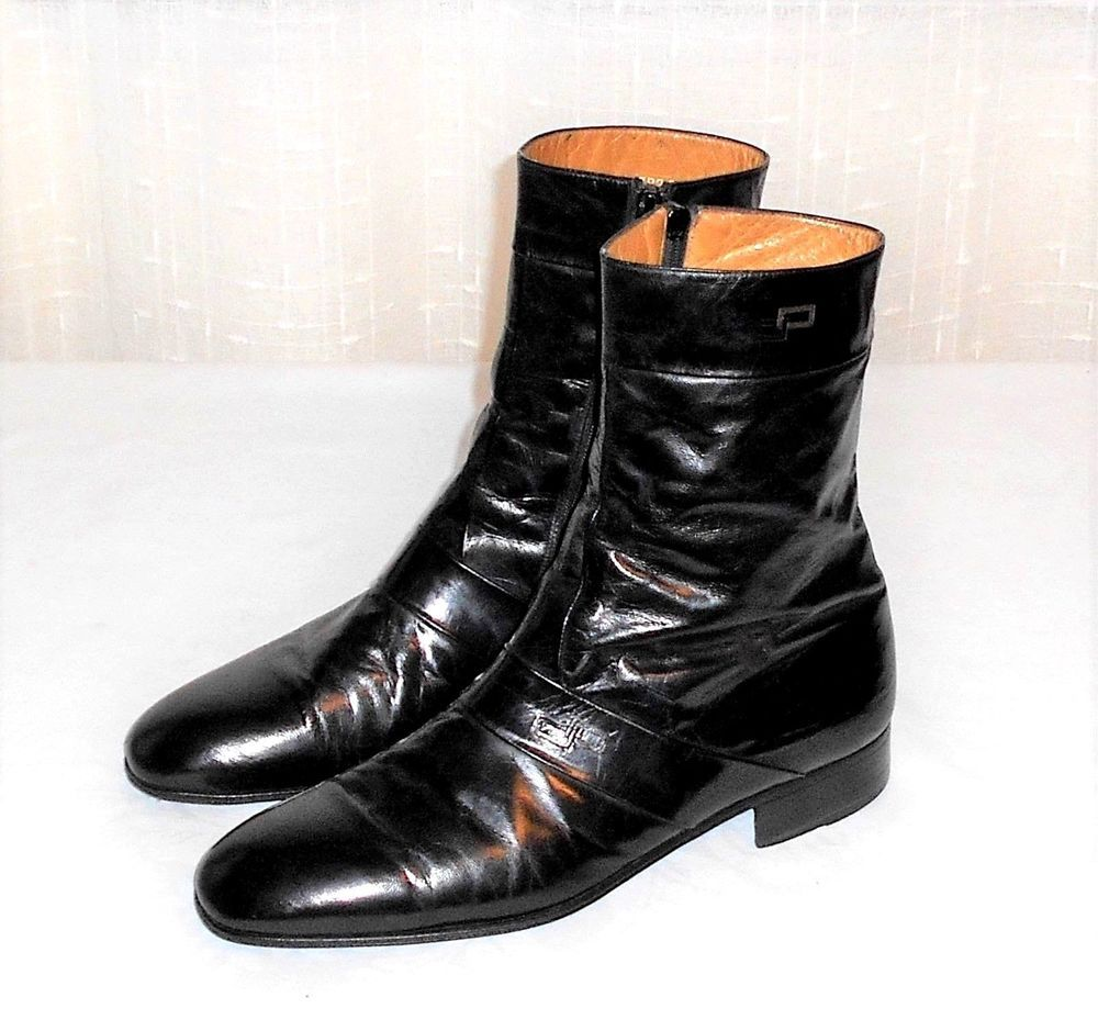 985a70c08e7 Moreschi Black Leather Side Zip Ankle Beatle Boot Made in Italy ...