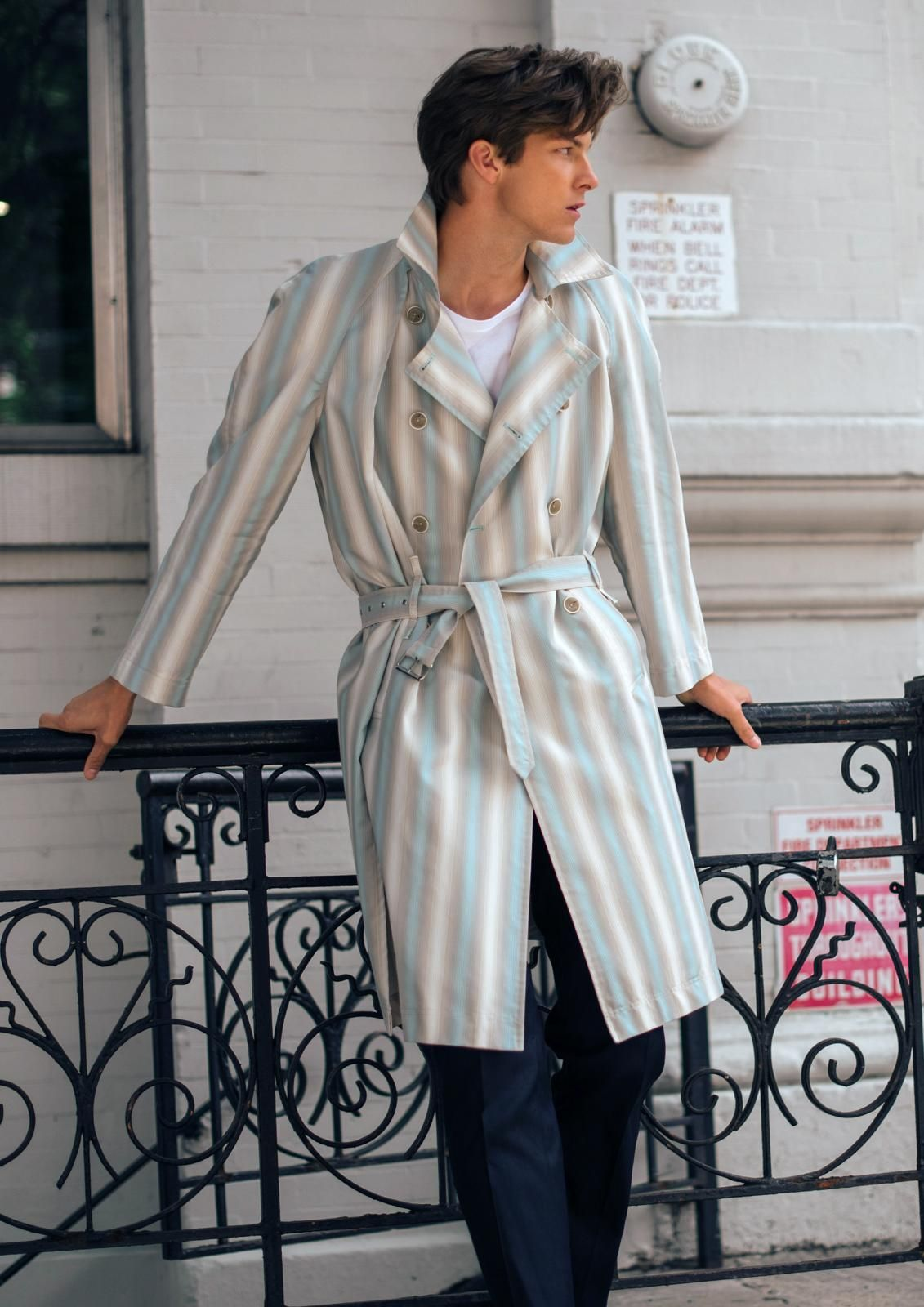 Blue striped men's trench