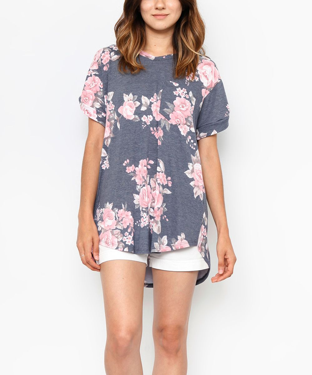 Navy Floral Pocket Tunic
