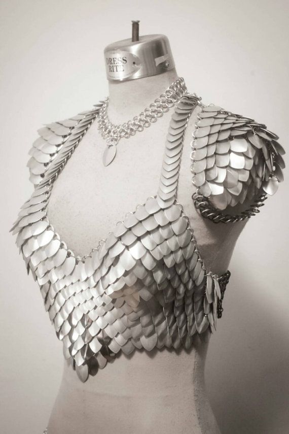 1859c1df52bf9 The Silver Queen-Deluxe Scale Maille scalemail chainmaille bra halter  dragon armor LARP Burning Man