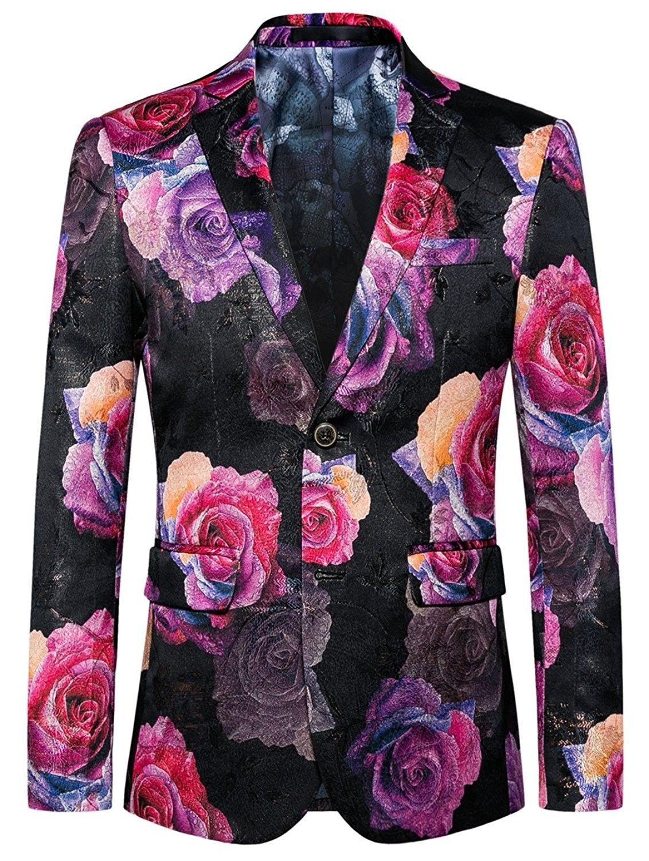 74f0936e762 Mens Blazer Pink Floral Casual Large Size Slim Fit Suit Jacket -  CW186K0Y2C9