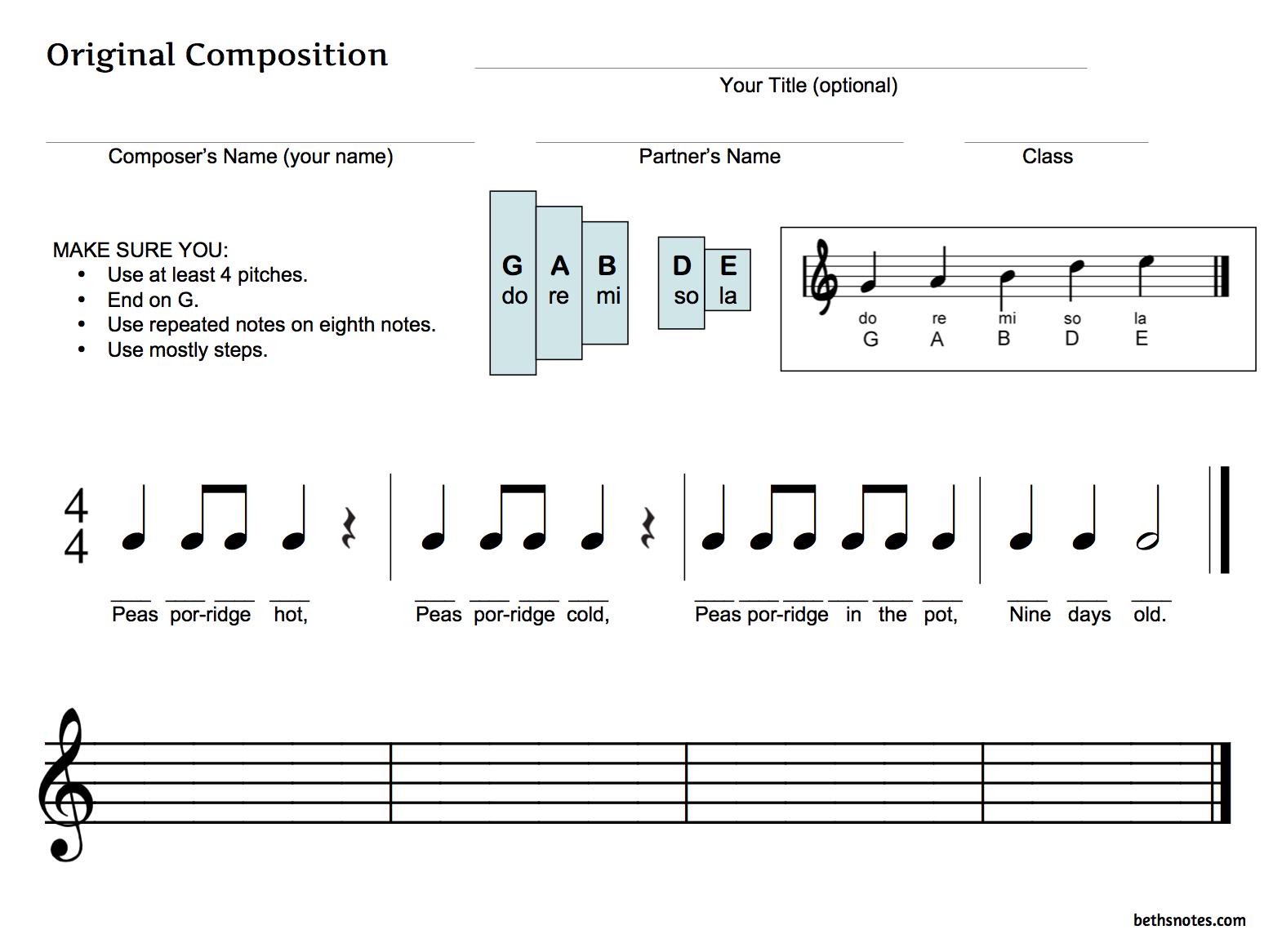 Beth S Music Notes Teaching Composition 3rd Grade Bag De