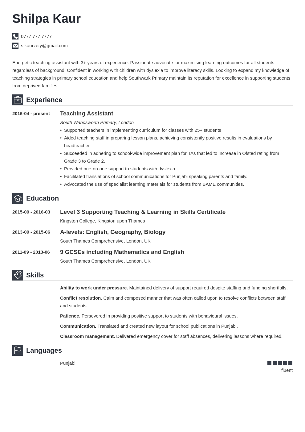 Uk Teaching Assistant Cv Example Template Iconic Teaching Assistant Guided Writing Cv Examples