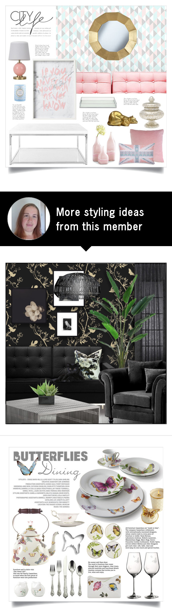 "hints of glass""retrocat1 on polyvore featuring interior"
