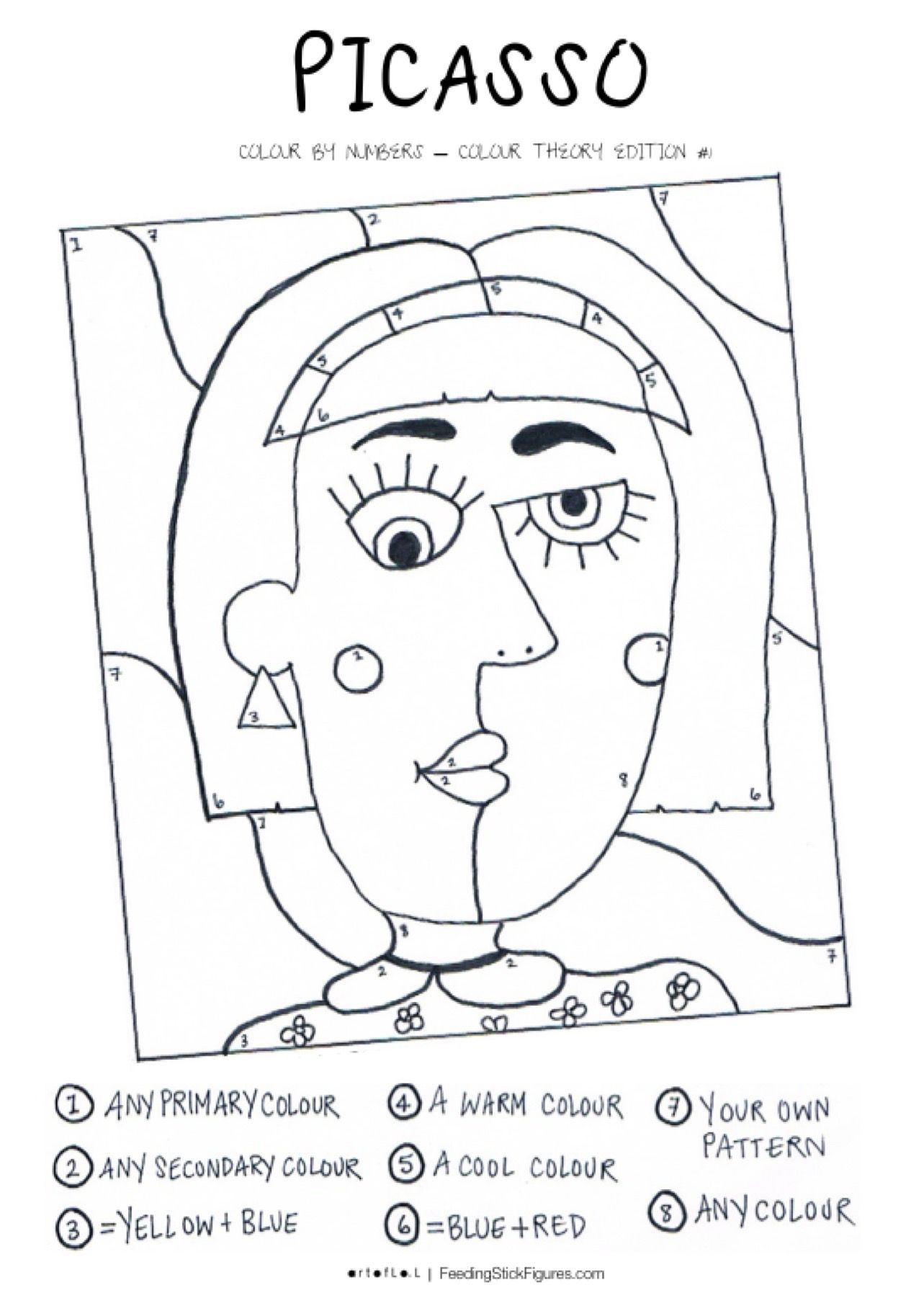 Picasso Colour By Numbers Activity Sheet Feedingstickfigures Picasso Art Art Lessons For Kids Art Handouts