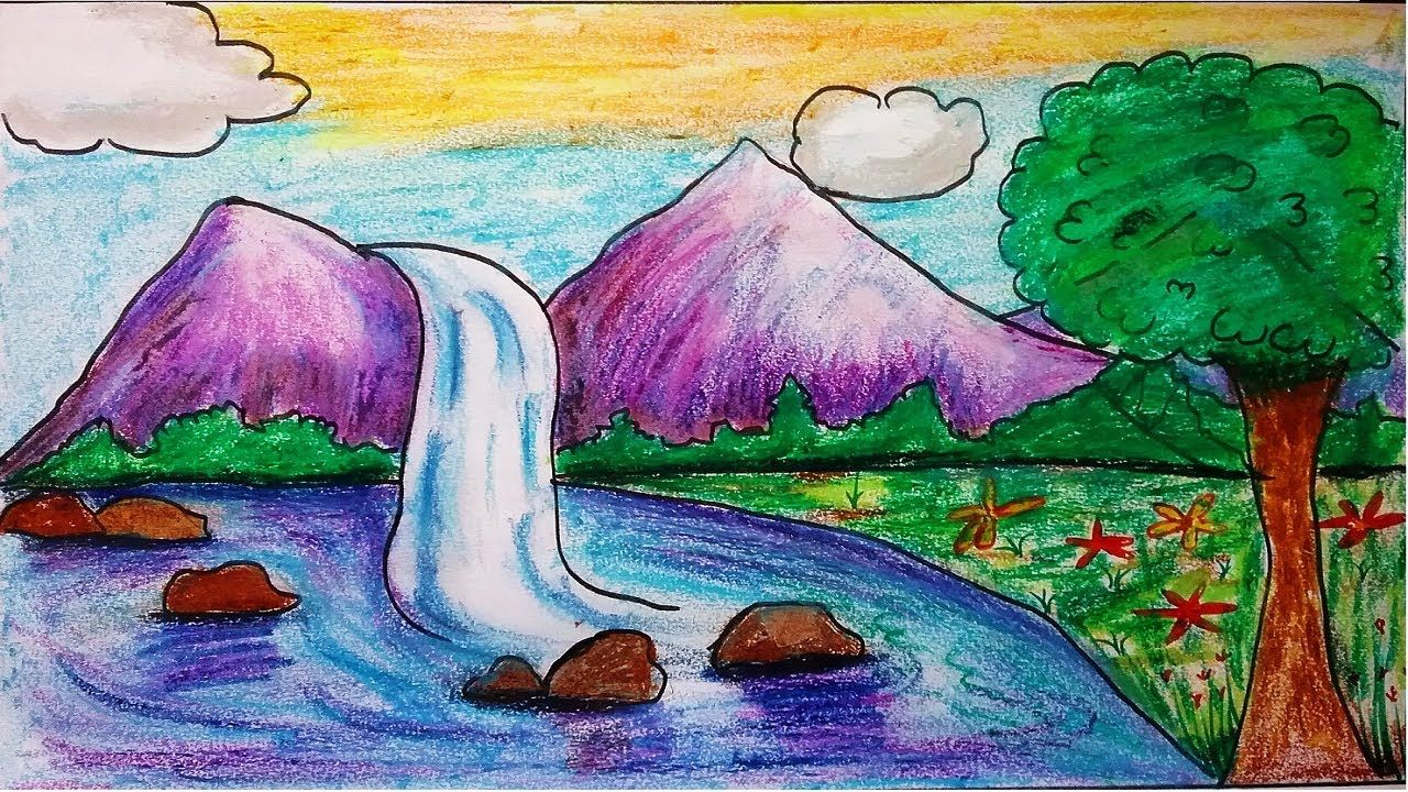 How To Draw River Landscape Scenery Of Mountain Waterfalls Draw Nature Drawing For Kids Scenery Drawing For Kids Drawings