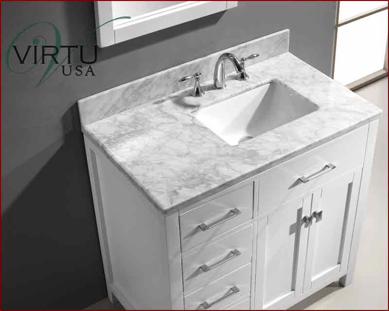 36 inch bathroom vanity with offset sink virtu usa 36 for Bathroom cabinets 36