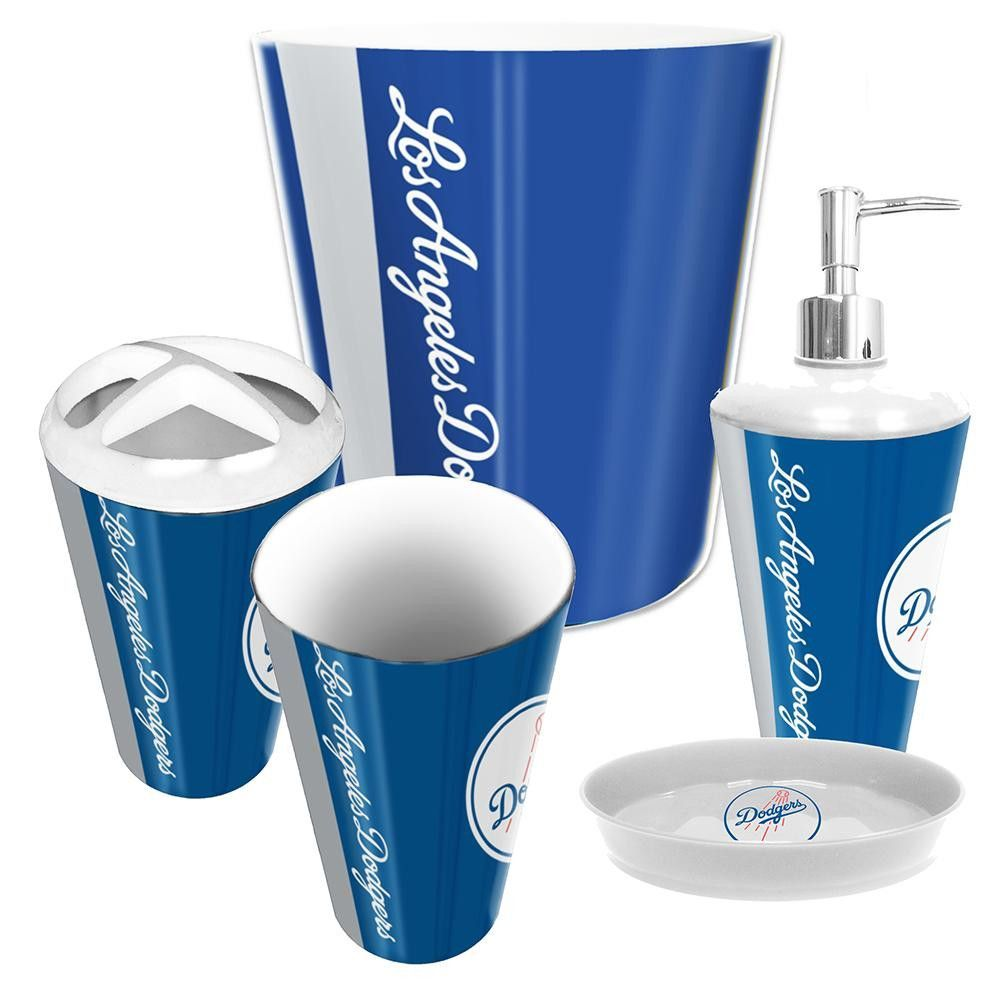 los angeles dodgers mlb complete bathroom accessories 5pc set - Bathroom Accessories Los Angeles