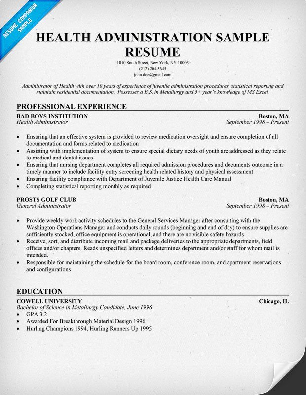Administrator Resume Sample Free #health Administration Resume Resumecompanion .