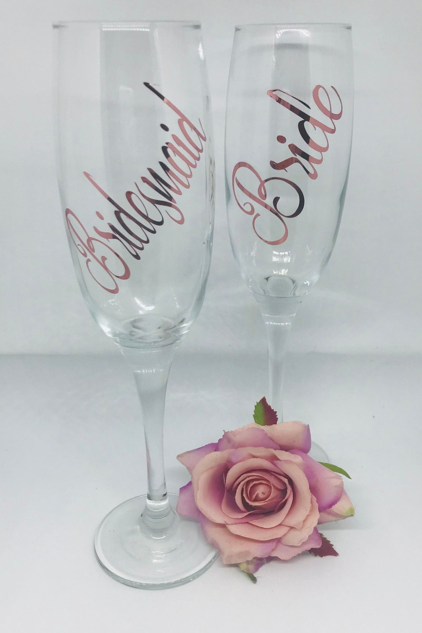 Bride Tribe Maid of Honour Bridesmaid Personalised Champagne glass flute Bride