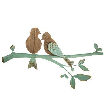 Turquoise Metal Branch Wood Bird Wall Decor Home Decor Metal