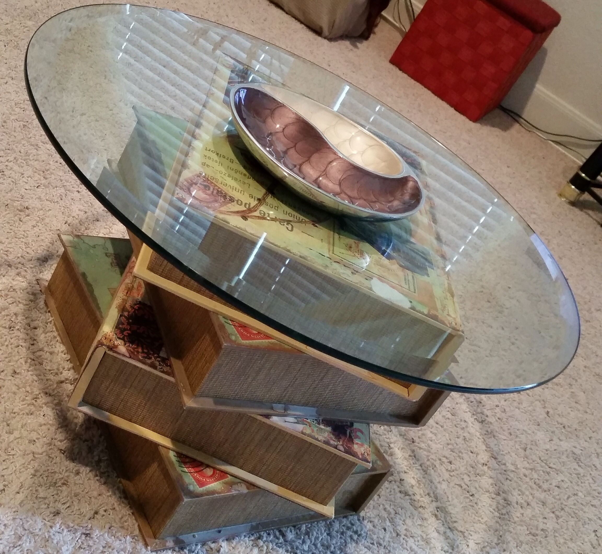 Stacked Storage Books From Garden Ridge And Glass Top Home Made Coffee Table Made Coffee Table Coffee Table Table