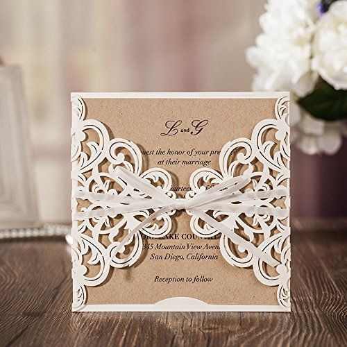 Square Laser Cut Lace Flower Wedding Invitation Card with Ribbon