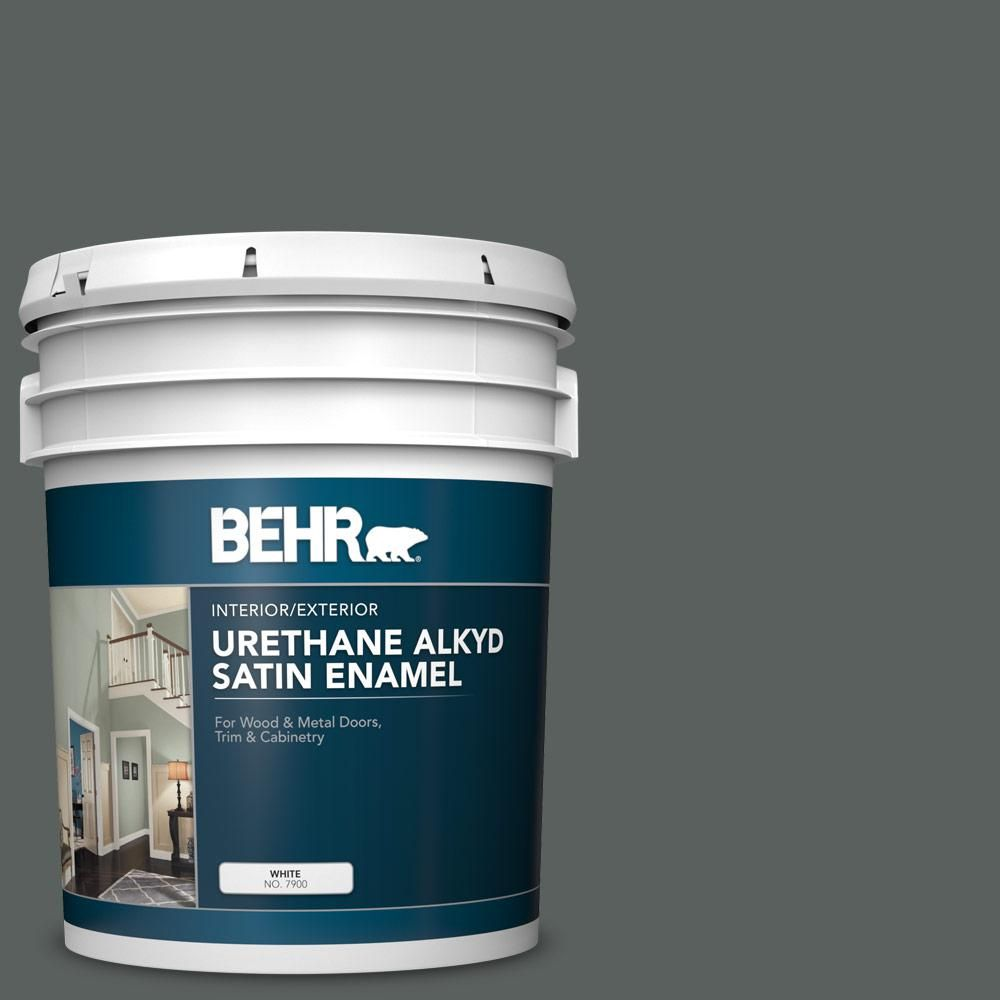BEHR 5 gal  #N460-6 Hematite Urethane Alkyd Satin Enamel