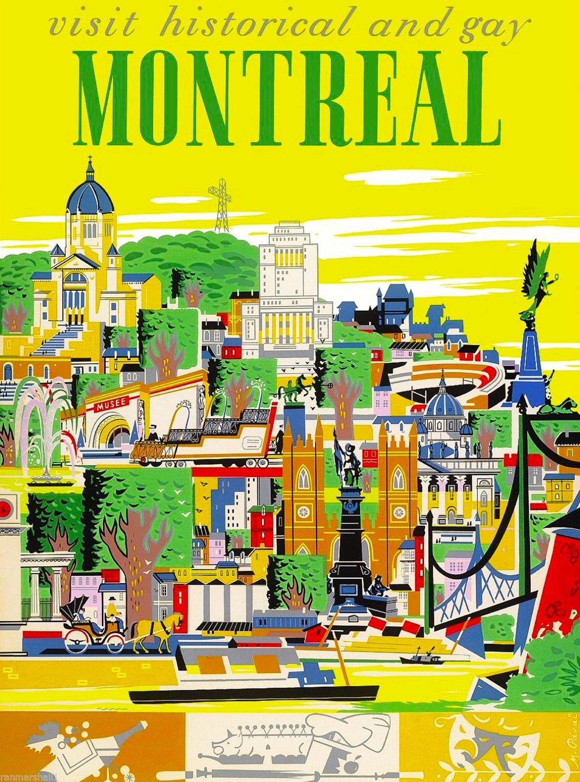 Amazon Com Historical Montreal Canada Canadian Vintage Travel Advertisement Art Poster Posters Prints Tourism Poster Posters Canada Travel Prints