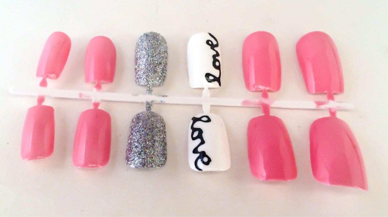 Pink Fake Nail Set - Glitter False Nails - White Acrylic Nails ...